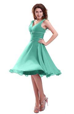 Colsbm Marina Mint Green Informal Zipper Chiffon Knee Length Sequin Bridesmaid Dresses