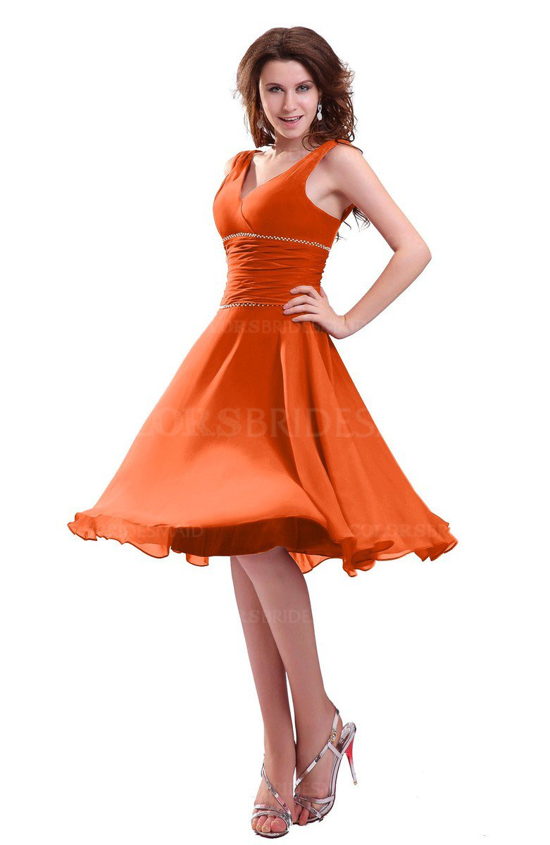 Colsbm Marina Tangerine Informal Zipper Chiffon Knee Length Sequin Bridesmaid Dresses