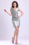 ColsBM Myra Silver Modest Column Sleeveless Taffeta Ruching Graduation Dresses