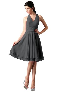 3b3d23b34fe ColsBM Holly Grey Simple A-line Sleeveless Zipper Chiffon Graduation Dresses