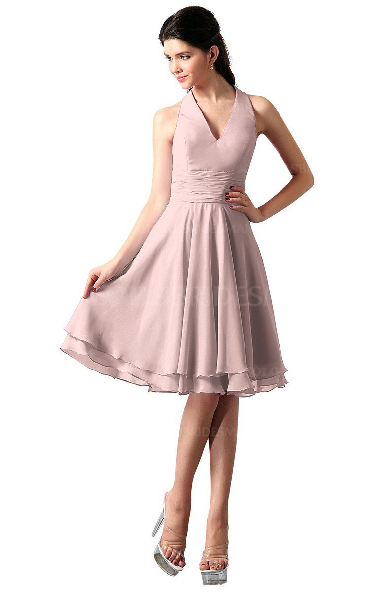 93211e9cff ColsBM Holly Pastel Pink Simple A-line Sleeveless Zipper Chiffon Graduation  Dresses