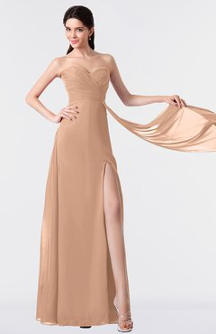 ColsBM Vivian Almost Apricot Modern A-line Sleeveless Backless Split-Front Bridesmaid Dresses