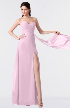 ColsBM Vivian Baby Pink Modern A-line Sleeveless Backless Split-Front Bridesmaid Dresses
