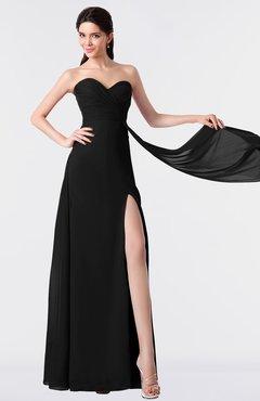 ColsBM Vivian Black Modern A-line Sleeveless Backless Split-Front Bridesmaid Dresses