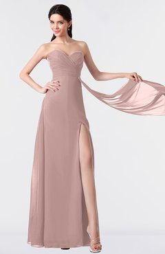 ColsBM Vivian Blush Pink Modern A-line Sleeveless Backless Split-Front Bridesmaid Dresses