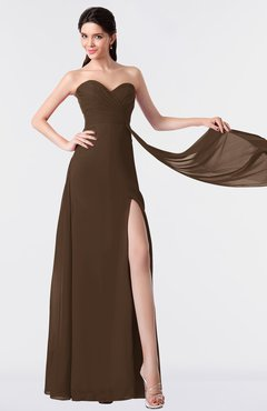 ColsBM Vivian Chocolate Brown Modern A-line Sleeveless Backless Split-Front Bridesmaid Dresses