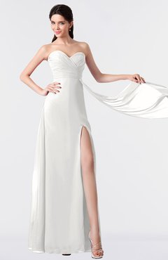 ColsBM Vivian Cloud White Modern A-line Sleeveless Backless Split-Front Bridesmaid Dresses