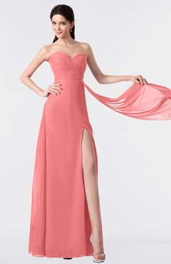 ColsBM Vivian Coral Modern A-line Sleeveless Backless Split-Front Bridesmaid Dresses
