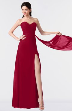 ColsBM Vivian Dark Red Modern A-line Sleeveless Backless Split-Front Bridesmaid Dresses