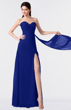 ColsBM Vivian Electric Blue Modern A-line Sleeveless Backless Split-Front Bridesmaid Dresses