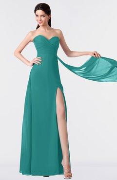 ColsBM Vivian Emerald Green Modern A-line Sleeveless Backless Split-Front Bridesmaid Dresses