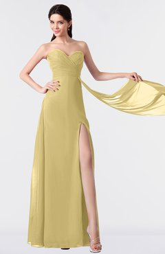 ColsBM Vivian Gold Modern A-line Sleeveless Backless Split-Front Bridesmaid Dresses