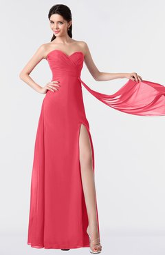 ColsBM Vivian Guava Modern A-line Sleeveless Backless Split-Front Bridesmaid Dresses