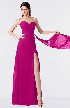 ColsBM Vivian Hot Pink Modern A-line Sleeveless Backless Split-Front Bridesmaid Dresses