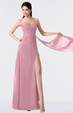 ColsBM Vivian Light Coral Modern A-line Sleeveless Backless Split-Front Bridesmaid Dresses