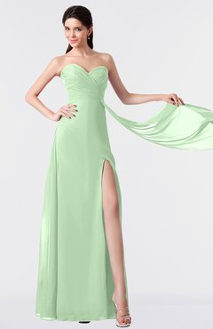 ColsBM Vivian Light Green Modern A-line Sleeveless Backless Split-Front Bridesmaid Dresses
