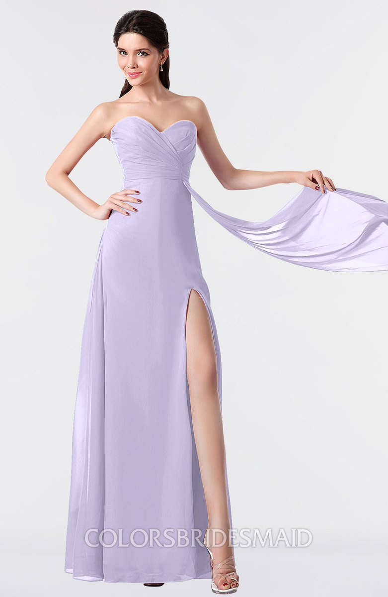 Colsbm Vivian Light Purple Modern A Line Sleeveless Backless Split Front Bridesmaid Dresses