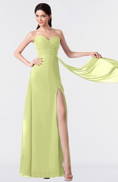 ColsBM Vivian Lime Green Modern A-line Sleeveless Backless Split-Front Bridesmaid Dresses