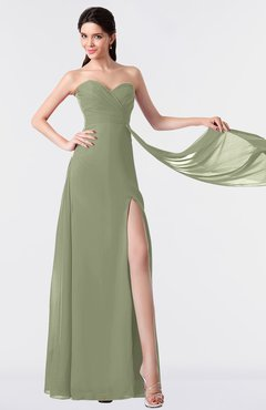 ColsBM Vivian Moss Green Modern A-line Sleeveless Backless Split-Front Bridesmaid Dresses