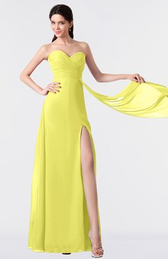 ColsBM Vivian Pale Yellow Modern A-line Sleeveless Backless Split-Front Bridesmaid Dresses