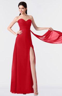 ColsBM Vivian Red Modern A-line Sleeveless Backless Split-Front Bridesmaid Dresses