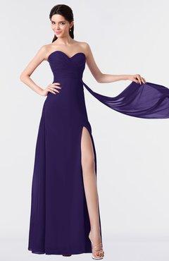 ColsBM Vivian Royal Purple Modern A-line Sleeveless Backless Split-Front Bridesmaid Dresses