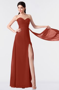 ColsBM Vivian Rust Modern A-line Sleeveless Backless Split-Front Bridesmaid Dresses