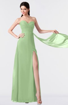 ColsBM Vivian Sage Green Modern A-line Sleeveless Backless Split-Front Bridesmaid Dresses