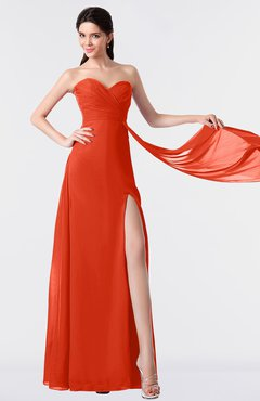 ColsBM Vivian Tangerine Tango Modern A-line Sleeveless Backless Split-Front Bridesmaid Dresses