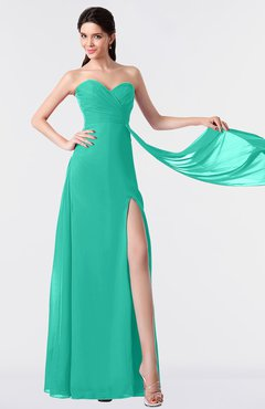 ColsBM Vivian Viridian Green Modern A-line Sleeveless Backless Split-Front Bridesmaid Dresses