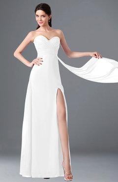 ColsBM Vivian White Modern A-line Sleeveless Backless Split-Front Bridesmaid Dresses