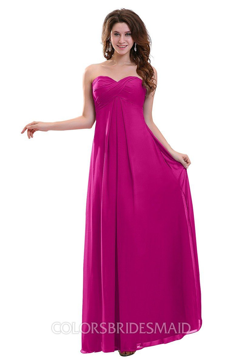 Colsbm Annalee Hot Pink Plain Sweetheart Sleeveless Backless Chiffon Floor Length Bridesmaid Dresses