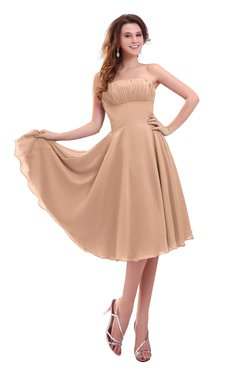 ColsBM Lena Almost Apricot Plain Strapless Zip up Knee Length Pleated Prom Dresses