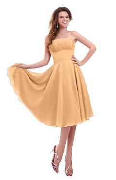 ColsBM Lena Apricot Plain Strapless Zip up Knee Length Pleated Prom Dresses