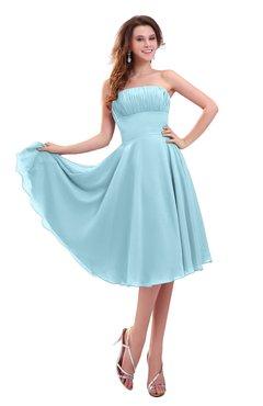 ColsBM Lena Aqua Plain Strapless Zip up Knee Length Pleated Prom Dresses