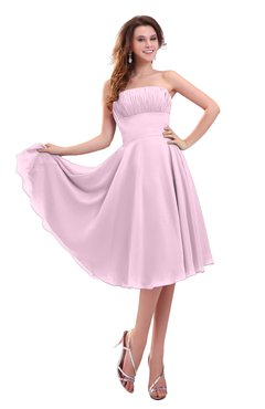 ColsBM Lena Baby Pink Plain Strapless Zip up Knee Length Pleated Prom Dresses