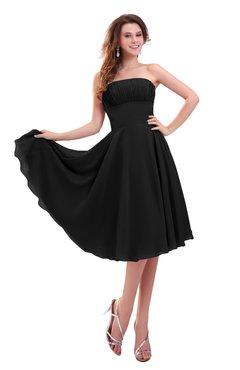 ColsBM Lena Black Plain Strapless Zip up Knee Length Pleated Prom Dresses