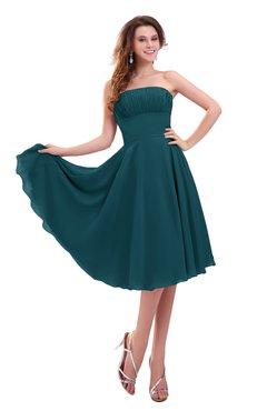 ColsBM Lena Blue Green Plain Strapless Zip up Knee Length Pleated Prom Dresses