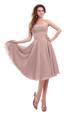 ColsBM Lena Bridal Rose Plain Strapless Zip up Knee Length Pleated Prom Dresses