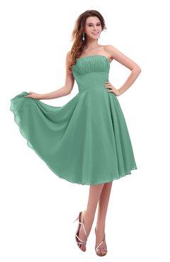ColsBM Lena Bristol Blue Plain Strapless Zip up Knee Length Pleated Prom Dresses