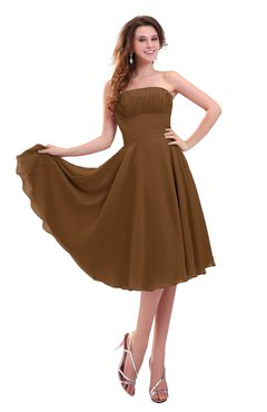 ColsBM Lena Brown Plain Strapless Zip up Knee Length Pleated Prom Dresses