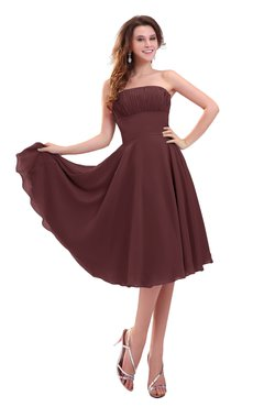 ColsBM Lena Burgundy Plain Strapless Zip up Knee Length Pleated Prom Dresses