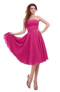 ColsBM Lena Cabaret Plain Strapless Zip up Knee Length Pleated Prom Dresses