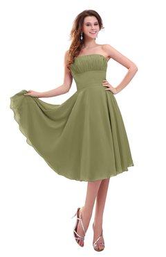 ColsBM Lena Cedar Plain Strapless Zip up Knee Length Pleated Prom Dresses