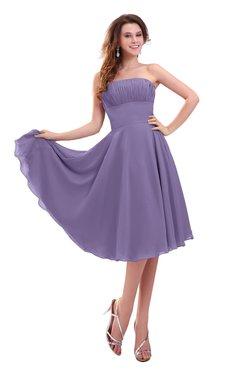 ColsBM Lena Chalk Violet Plain Strapless Zip up Knee Length Pleated Prom Dresses