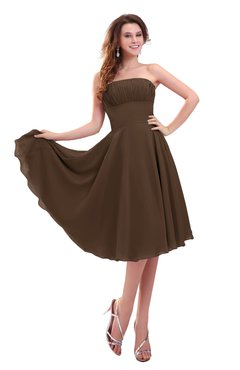 ColsBM Lena Chocolate Brown Plain Strapless Zip up Knee Length Pleated Prom Dresses
