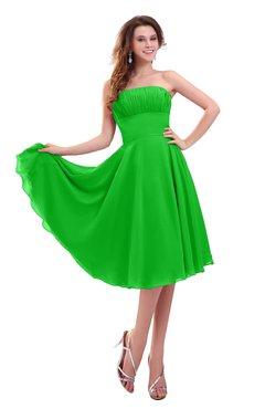 ColsBM Lena Classic Green Plain Strapless Zip up Knee Length Pleated Prom Dresses