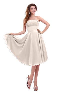 ColsBM Lena Cream Pink Plain Strapless Zip up Knee Length Pleated Prom Dresses