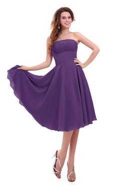 ColsBM Lena Dark Purple Plain Strapless Zip up Knee Length Pleated Prom Dresses