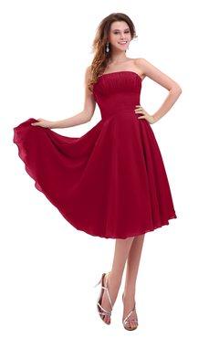 ColsBM Lena Dark Red Plain Strapless Zip up Knee Length Pleated Prom Dresses